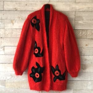 Bright red mohair leather floral cardigan